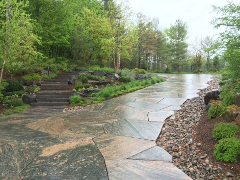 Granite driveway and stone steps