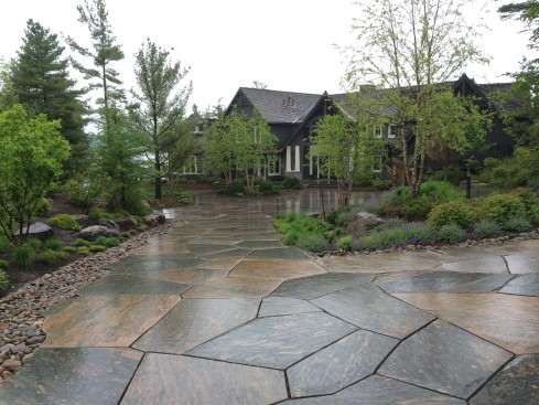 Granite driveway at front of cottage