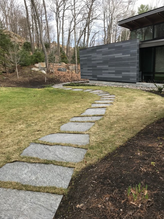 Stepping stone path through grass