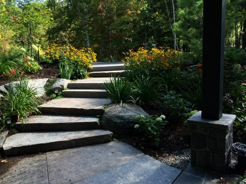 Steps, Landing and patio combination with gardens